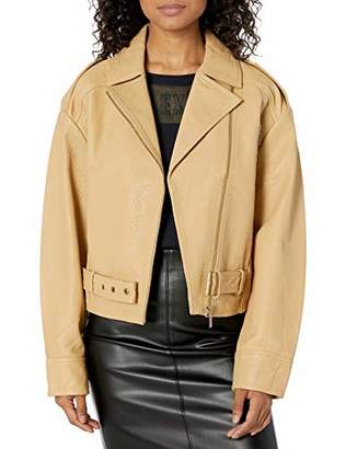 Armani Exchange A|X Women's Motorcycle Style Jacket with Notched Collar and Belt Detail