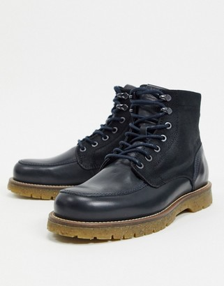 Jack and Jones leather lace up boot with chunky sole in navy