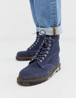 Dr. Martens 1460 Pascal 8 eye boots in blue suede