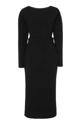 Dolce & Gabbana Bow-Detailed Wool-Blend Crepe Midi Dress