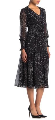 Taylor Printed Dot Chiffon Smocked Dress