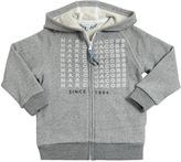 Little Marc Jacobs Hooded Printed Cotton Zip Up Sweatshirt