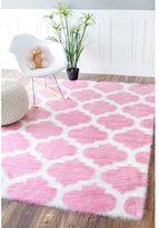 nuLoom Faux Sheepskin Solid Soft and Plush Cloud Trellis Kids Shag Pink Rug (3' x 5')