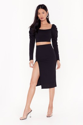 Nasty Gal Womens Two Hot Two Handle Cropped Blouse and Midi Skirt Set - black - 8