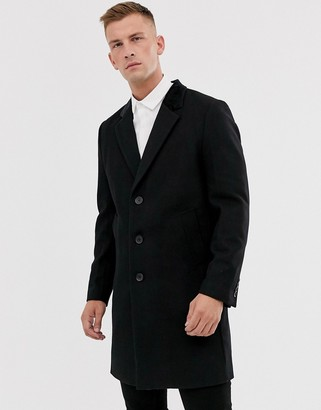 French Connection premium wool rich overcoat with velvet collar-Black