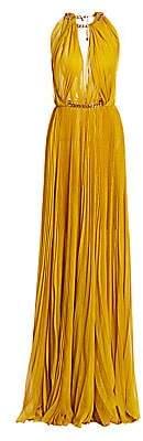 Oscar de la Renta Women's Highneck Pleated Chain Gown