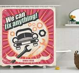 Ambesonne 1950s Decor Collection, Auto Service Retro Poster and Mechanic Transport Workshop Quotes We Can Fix Anything Design, Polyester Fabric Bathroom Shower Curtain Set with Hooks, Pink White