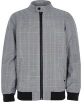 River Island Boys grey check bomber jacket