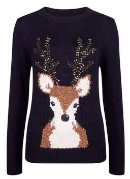 Dorothy Perkins Womens Navy Christmas Sequin Reindeer Jumper