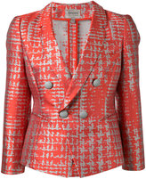 Armani Collezioni dogtooth patterned blazer - women - Silk/Cotton/Polyester - 40