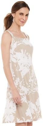 Chaps Women's Floral Squareneck Fit & Flare Dress
