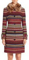 Trina Turk Kendell Faux Fur Collar Striped Coat