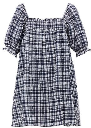Solid & Striped Square-neck Checked Seersucker Mini Dress - Womens - Black White