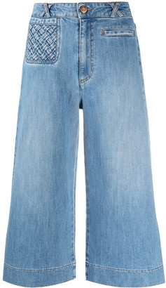 See by Chloe Lattice-Pocket Wide-Leg Cropped Jeans