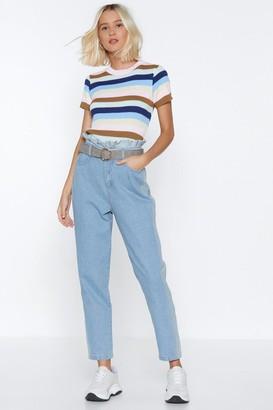 Nasty Gal Womens Paperbag It Up Denim Jeans - Blue - 8
