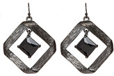 Textured Fold Over Gunmetal Earrings
