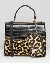 Dune Mini Tote Bag With Leopard Panel