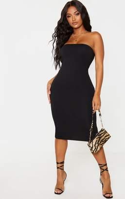 PrettyLittleThing Shape Black Cotton Bandeau Midi Dress