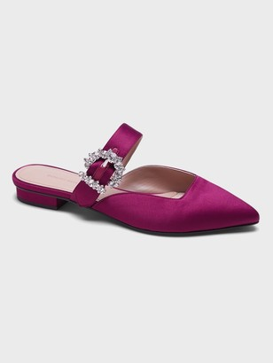 Banana Republic Satin Pointy-Toe Flat with Crystal Buckle