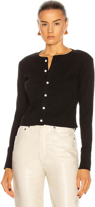 RE/DONE 50's Cropped Button Long Sleeve Cardigan in Black | FWRD