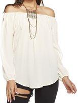 Chaser Women's Silk Basics Open Sleeve Shirttail Boho Blouse - White