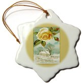 3dRose LLC BLN Vintage Perfume Toiletry Labels and Posters - Lady Grey Perfumes Boston Mass Winter Scene with Yellow Rose - Ornaments - (orn_169753_1)