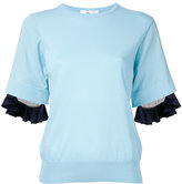 Toga ruffled trim sweatshirt - women - Cotton/Nylon/Polyester - 36