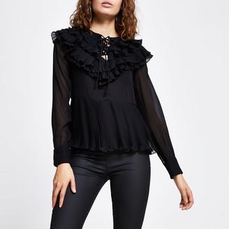 River Island Womens Black long sleeve ruffle pleated blouse