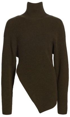 Proenza Schouler Merino Wool Asymmetric Turtleneck Sweater