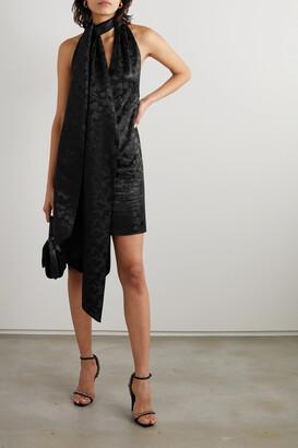 Givenchy - Satin-jacquard Halterneck Mini Dress - Black