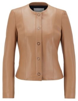 HUGO BOSS Collarless Jacket In Nappa Leather With Snap Fastenings - Light Brown