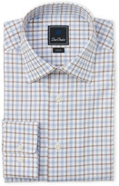 David Donahue Windowpane Trim Fit Dress Shirt