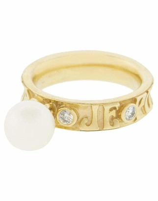Marlo Laz Dancing White Pearl Ring Wide