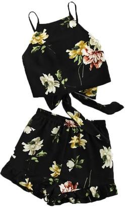 Shobdw Women's Clothes Womens Suits SHOBDW Women's Pretty Boho Ruffle Floral Print Spaghetti Strap Crop Cami Tops + Shorts Beach Holiday Sets (12