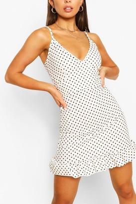 boohoo Polka Dot Ruffle Hem Dress