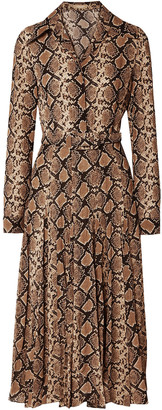Michael Kors Collection Belted Snake-print Silk-crepe Midi Dress