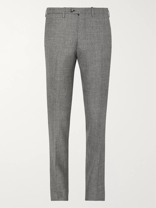 Kiton Grey Slim-Fit Micro-Puppytooth Cashmere, Linen and Silk-Blend Suit Trousers - Men - Gray