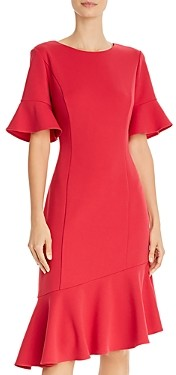 Adrianna Papell Ruffled Crepe Dress
