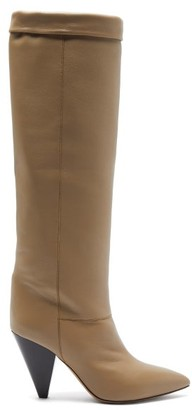 Isabel Marant Loens Foldover-top Leather Knee-high Boots - Beige
