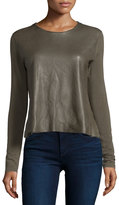 Majestic Paris for Neiman Marcus Leather-Front French Terry Top