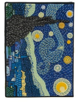 Olympia Le-Tan Van Gogh Starry Night Embroidered Book Clutch - Blue Multi