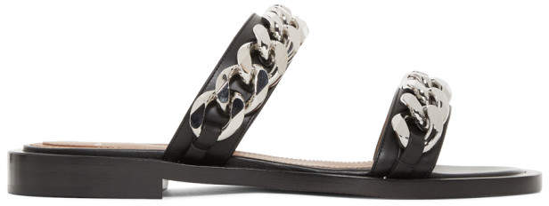 Givenchy Black Double Chain Flat Sandals