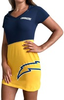 Unbranded Women's Refried Tees Navy/Gold Los Angeles Chargers Hooded Mini Dress