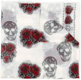 Alexander McQueen skull and rose stamped scarf - men - Silk/Modal - One Size