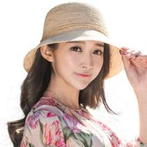 Siggi Womens Crochet 100% Raffia Straw Bucket Hat with Roll Up/Down Brim Hand-Made Beige