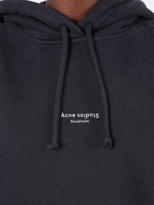 Acne Studios Contrasting Printed Logo Hoodie Black