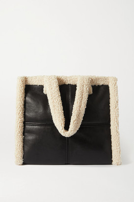 Stand Studio Lola Faux Shearling-trimmed Faux Leather Tote - Black