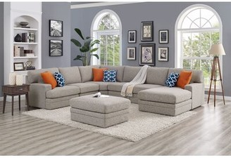 "Ebern Designs Episkopi 5 Seater Large 139"" Right Hand Facing Sectional Sofa With Ottoman Fabric: Gray"