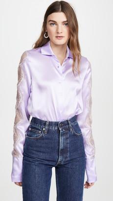 ANAÏS JOURDEN Lilac Silk Satin Shirt