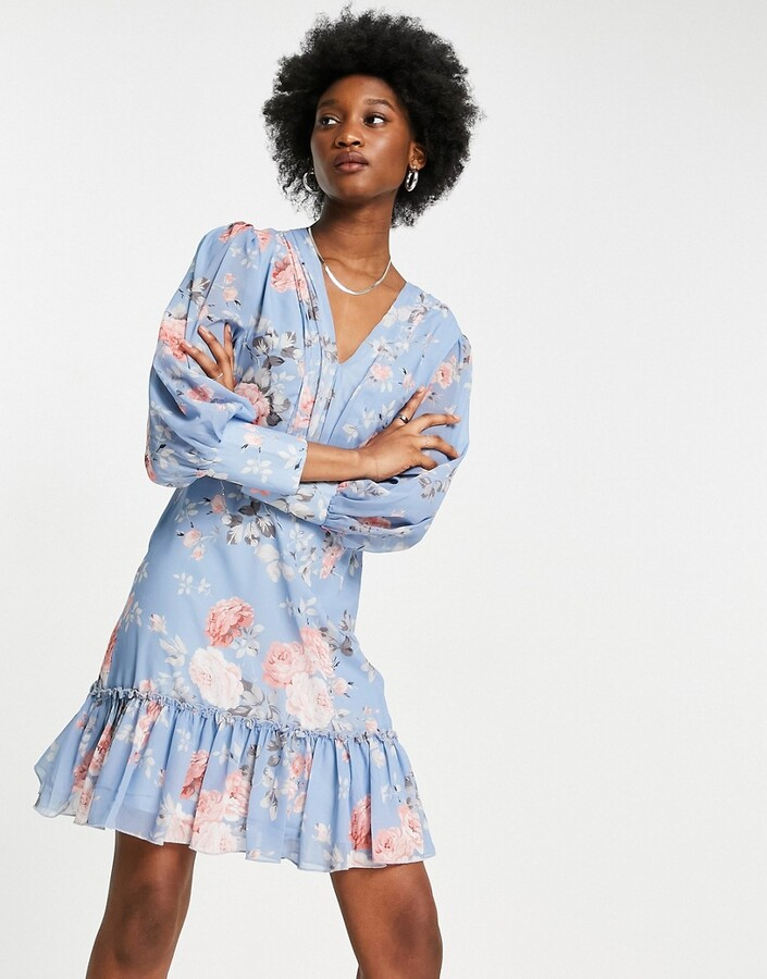 Thumbnail for your product : Forever U frilled mini dress in floral blue